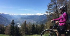 Ir en bicicleta por el colorido paisaje