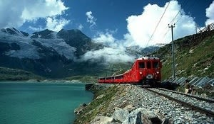 The Bernina Express reaches its highest point at 2,253 metres altitude - the highest Alpine rail crossing.