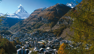 The resort village of Zermatt, with the Matterhorn looming in the distance.