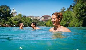 Marzili, riverside bathing spot, Aare, Bern